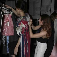 Backstage preparations for the fashion show
